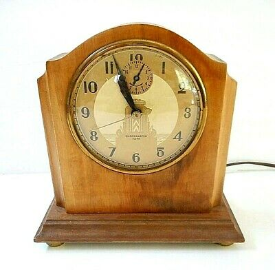 Vintage 1930-40's Art Deco Hammond Chronmaster Electric Mantle/Shelf Clock WORKS
