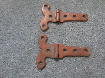 Two Reclaimed Salvage Antique Brass Ornate Hinges