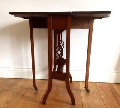 Edwardian Mahogany Drop Leaf Sutherland Table. Small And Beautiful.