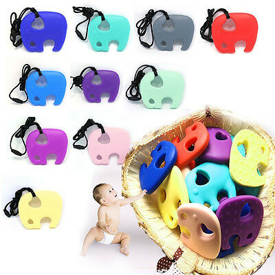 Baby Food Grade Silicone Teething Pacifier Elephant Pendant Soother Teether