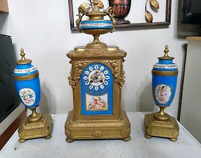 Antique Japy Freres Gilt Brass Clock and Garniture Set Porcelain Cherub French