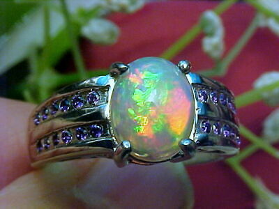 🔥 NATURAL SOLID ETHIOPIAN OPAL RING AAA+++ 10x8mm & BOLIVIAN AMETHYST 925 SS
