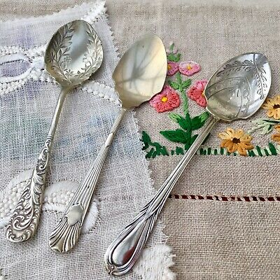 JAM SPOON JOB LOT x3 - ORNATE LILY FLORAL INDENTED ENGRAVED ANTIQUE CUTLERY EPNS