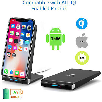 Fast Qi Wireless Charger Dock For iPhone X XS 8+ XR Samsung S9 S9plus S10 Note10