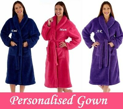 PERSONALISED Ladies FLUFFY Thick Long Dressing Gown Robe Wrap - GIFT PRESENT