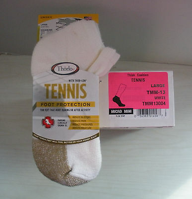 Thorlo -6 Pair- Tmm-13- Mens Micro Mini Tennis Socks- Thick Cushion- Sz 9 - 12.5