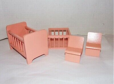 Vintage Wood Miniature Dollhouse Furniture Crib Playpen & Chairs Germany