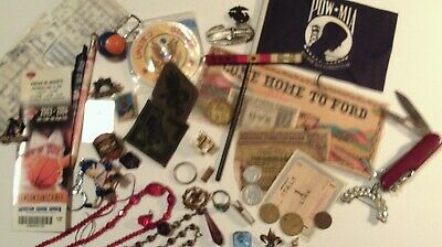 Junk Drawer Lot--Sports, Military, Knife, Antique Jewelry-Over 50 items--LOOK