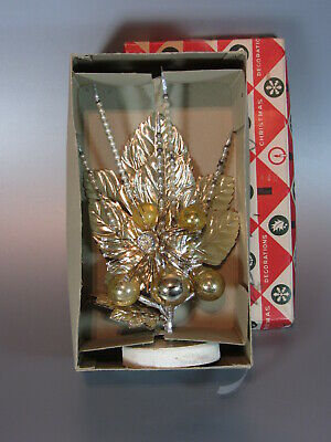 Vintage Christmas Ornament Mercury Glass foil leaves decoration w/ box - Bunch