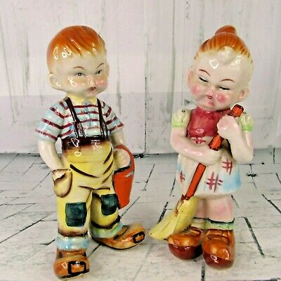 2 Peasant Oriental Chinese Children Figurines Ceramic Hand Painted Glazed