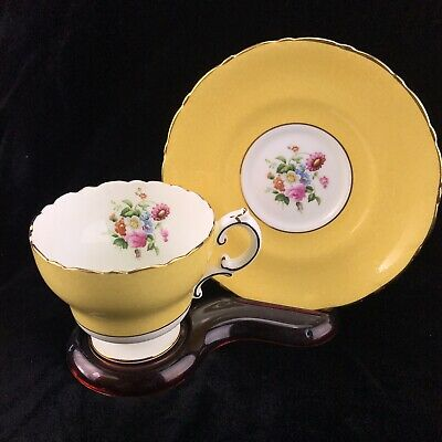 Vintage Cauldon Tea Cup and Saucer Yellow Floral Leaf Gold Trim Bone China