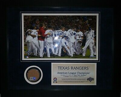 Texas Rangers 2010 Alcs Collage With Authentic Ballpark Of Arlington Dirt Coa!