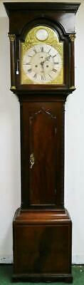 Antique Grandfather Clock By Bell Sunderland 8 Day Longcase Mahogany Brass Dial