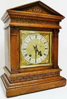 Antique W & H Carved Oak Architectural Musical 8 Day Ting Tang Bracket Clock