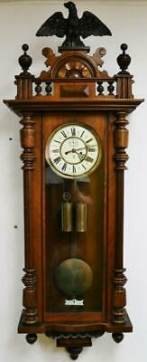 Antique Gustav Becker Carved Walnut Twin Weight 8 Day Striking Vienna Wall Clock