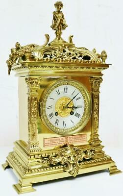 Antique 19thC French 8 Day Bronze Ormolu Ornate Architectural Style mantel Clock