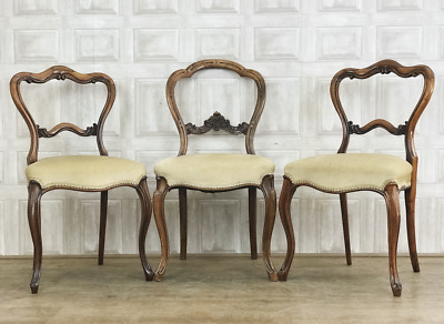 3 x Victorian Carved Balloon Back Dining Chairs - Walnut *£55 DELIVERY*