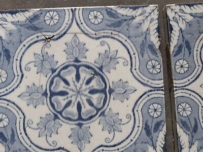 Twelve decorative Victorian tiles, 6'x6  some damage as shown on pictures