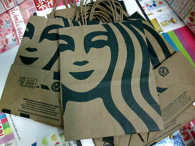 NEW 10x Starbucks Reusable Brown Kraft Paper Shopping Lunch Gift Bags w/Handle