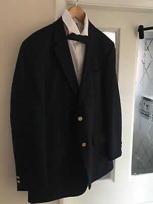 Mens Sporting Jacket/Blazer Navy Blue. 42R By Skopes- Gold Buttons Vgc