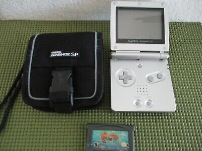 Nintendo Game Boy Advance SP Silver/Platinum with Spyro and case AGS-001