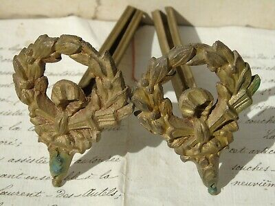 Brackets Vintage French Antique Metal Gilt Bronze Ormolu X2 Flaming Torch Quiver