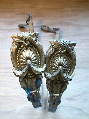 VINTAGE FRENCH TIEBACK HOOKS GILT BRONZE ORMOLU SWAG BACK CURTAIN HOLDERS FAB Pr