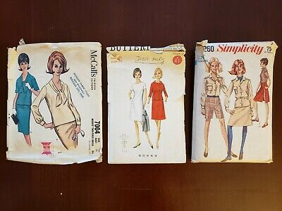 Vintage 1960s sewing pattern lot, misses/juniors sz 9-10 (b30.5-31), incomplete