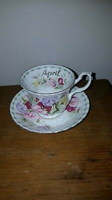ROYAL ALBERT FLOWER OF THE MONTH SERIES SWEET PEA CUP AND SAUCER c1970