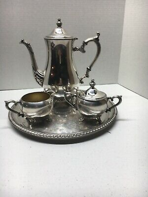 Vintage WM Rogers Silverplate Teapot Coffee Set  w/ Tray Creamer & Sugar