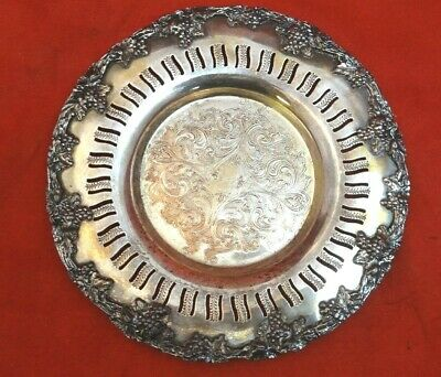 Silverplate Antique Plate with Grapes and Piercing with Engraved Design 9623