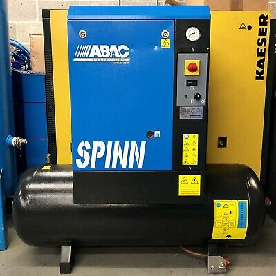 ABAC Spinn 5.510 200 Receiver Mounted Rotary Screw Compressor, Only 30Hrs Use!