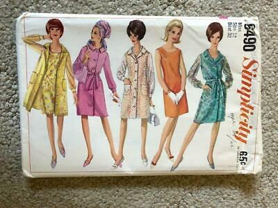 Simplicity 6490 ~ Misses Dress-Coat Dress-Unlined Coat~ Bust 32 ~ Size 12 ~ 1966