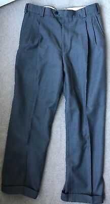 """vintage Phoenix Casuals trousers grey polyester/wool blend W32"""" turn ups"""