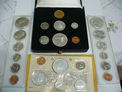 Lot Of 4 1967  Silver  Canada  Sets 1$ Quarter Dime Half One  Dollar    Auction