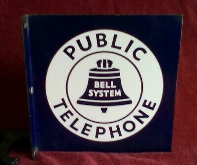 "BIG 11"" Vintage PUBLIC TELEPHONE Pay Phone Booth Sign BELL SYSTEM"