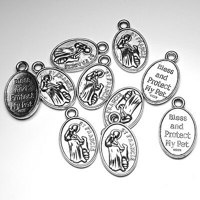10 Saint St. Francis Bless My Pet Lot of 10 Catholic Holy Medals Antique Silver