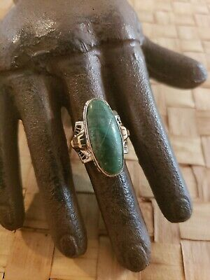 Antique Sterling Silver 10K Gf And Malachite Cocktail Ring Size 6 C&C Signed