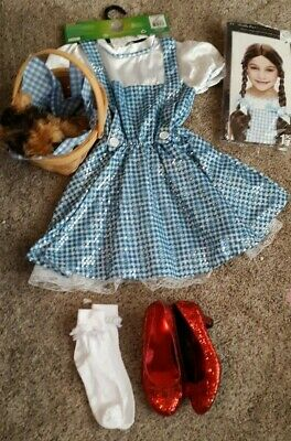 Rubies Dorothy Wizard of Oz Girl Costume 5-7 Yrs Sequin Dress Hair Ribbons Incl