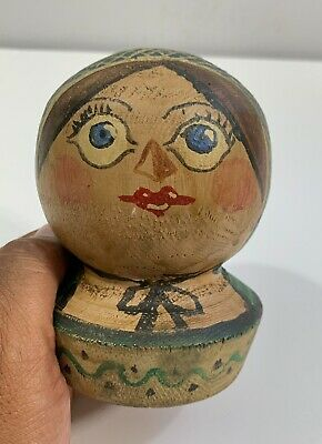 Nice Old American Folk Art Carved Wood And Painted Bust Of A Woman
