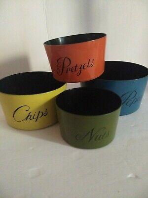 Vtg Mid Century Nesting Snack Bowls~Lacquer Ware~(Popcorn Nuts Chips Pretzels)