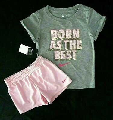 Nike Girls Size 6 Two-Piece Pink Foam 'Born As The Best' Graphic Tee Short Set
