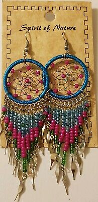 Spirit Of Nature Blue/Pink Large Dream Catcher Seed Beads Handmade Hook Earrings