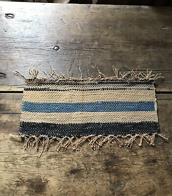 Old Small Antique Handmade Rag Rug Candle Table Mat Browns Blues Textile AAFA