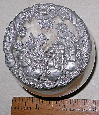 1996 Rawcliffe Pewter XMAS Snowmen Sculpted Potpourri Lid with Glass Jar PC2717