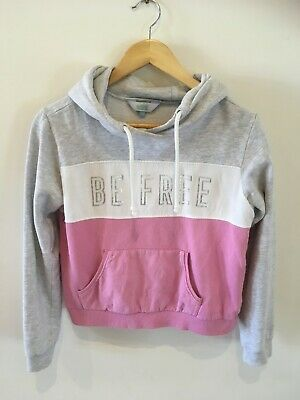 Girls Tilii Myer hoodie jumper, size 14, fit 10-12, pink grey white, sweater