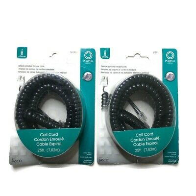 2 Pack Power Gear Telephone Coil Cord Standard Replacement Jasco Universal 25 ft