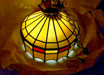 "18"" Vintage Tiffany Pendant Baroque Style Hanging Lamp Stained Glass Luminaire"