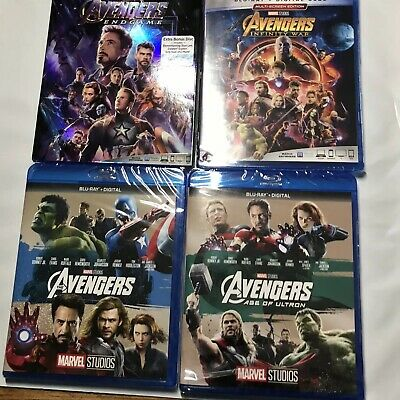 MARVEL AVENGERS QUADRILOGY 1-4 (BLURAY + Digital Code) Ultron ENDGAME INFINITY