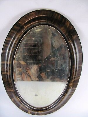 19th Century Mirror Edwardian Tortise Faux Grain Oval (INV#47)